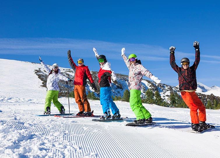 learn to ski snowboard